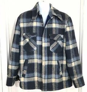Sears Sportswear Blue Plaid Jacket 42 T Large Tall
